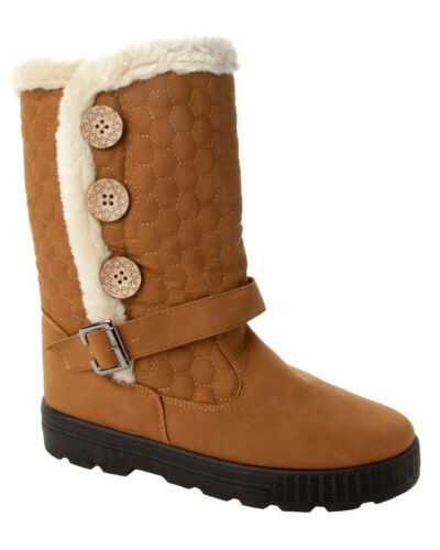 WOMENS QUILTED TAN FUR LINED MID CALF THICK SOLE WINTER BOOTS LADIES UK SIZE 3-8