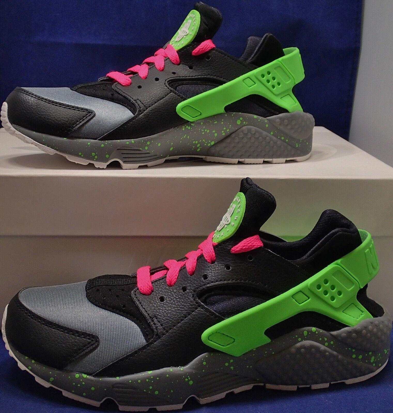 Womens Nike Air Huarache Run iD Black Green Grey Pink SZ 8 ( 777331-994 )