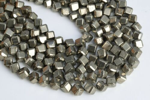 """6MM Copper Pyrite Cube Diagonal Drilled AAA Natural Gemstone Loose Beads 15.5/"""""""