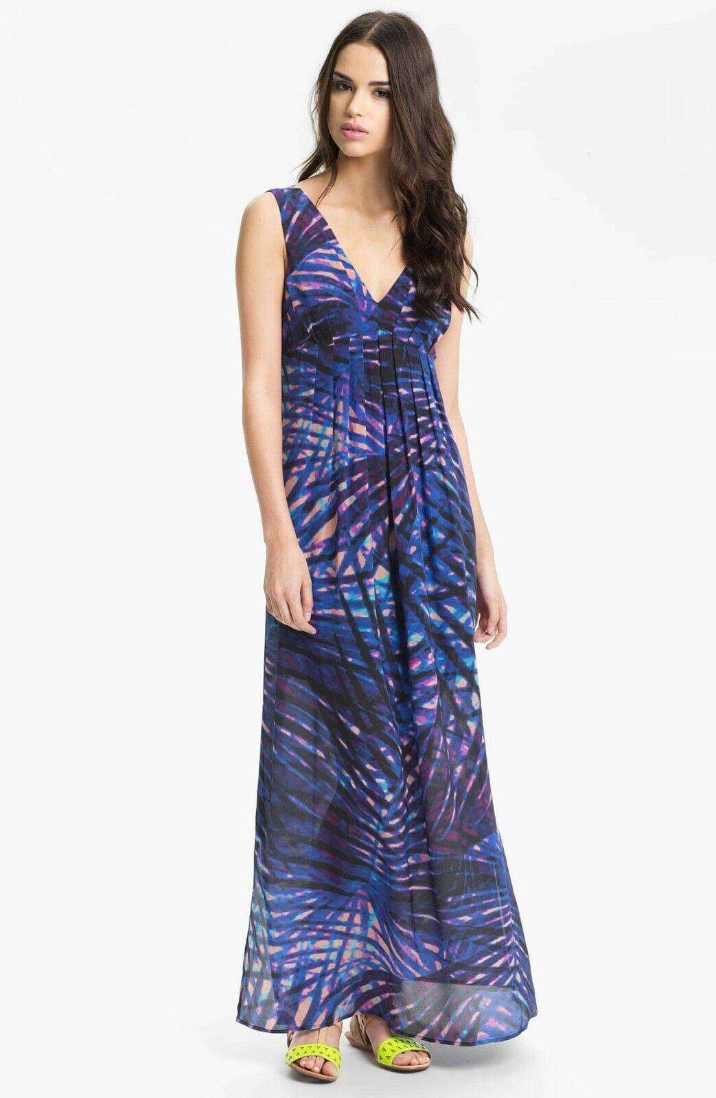 PRESLEY SKYE Print Silk Maxi Dress Blau Empire Waist Pleated Sleeveless S Lined