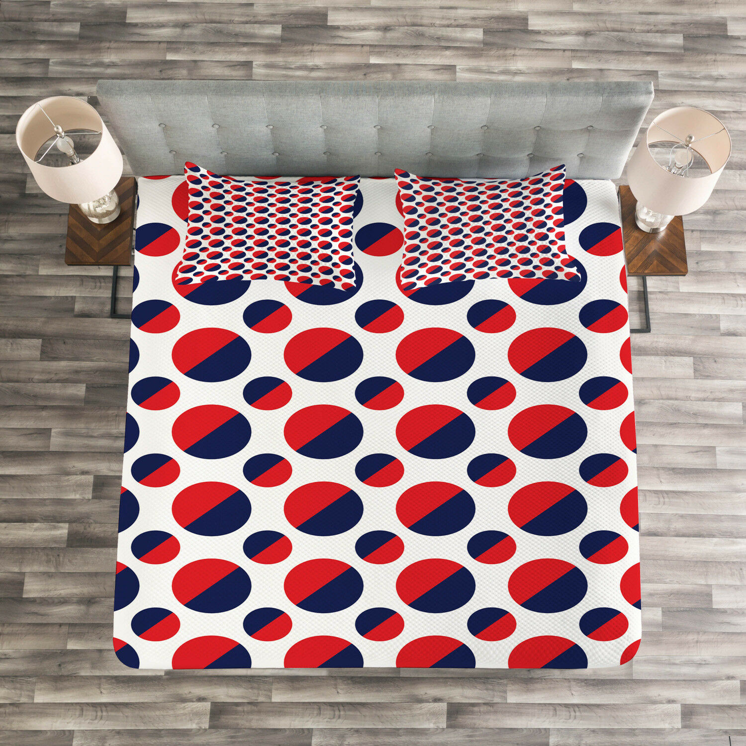 Geometric Quilted Bedspread & Pillow Shams Set, Red Circles Rounds Print