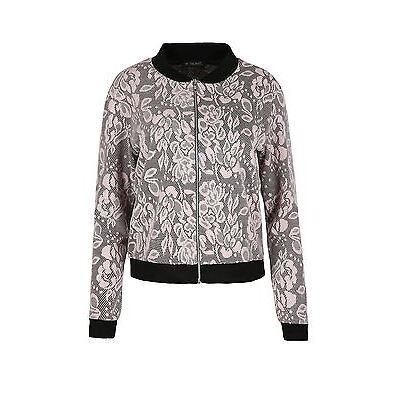 Womens Collar Zipper Full Sleeve Ladies Floral Lace Pattern Biker Bomber Jacket