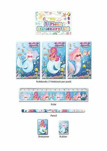 Mermaids-5-Piece-Stationary-Writing-Set-Birthday-Party-Bag-Filler-Girls-Gift-New