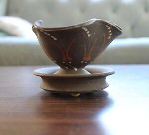 vintage hak kahler danmark art unglazed pottery trinket signed dish