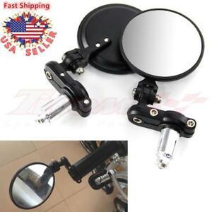 """Universal CNC Handle Bar End Round Rear View Side Mirrors 7/8"""" Custom Adjustable"""