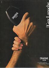 Publicité Advertising  1984  Parfum DRAKKAR NOIR de Guy Laroche pour l'Homme