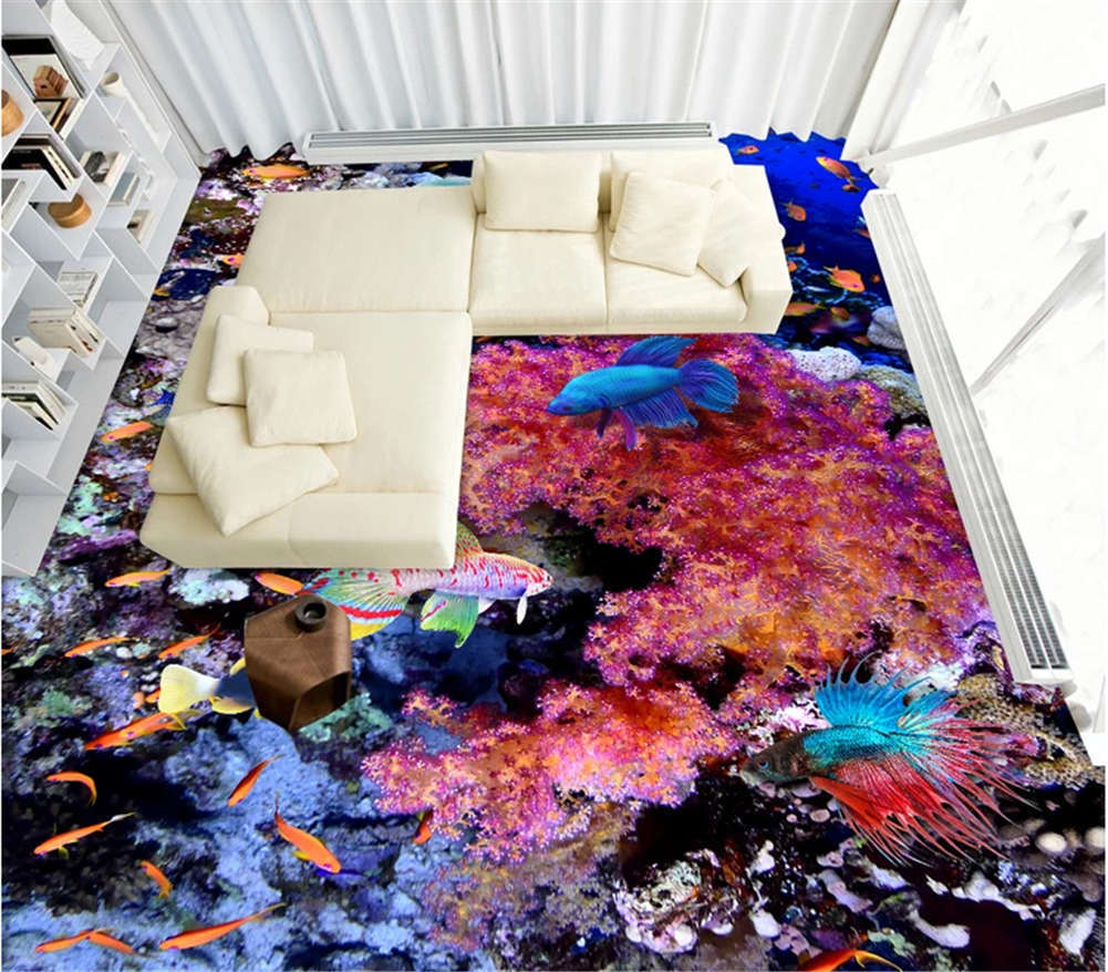 Vivid Stagnant Fish 3D Floor Mural Photo Flooring Wallpaper Home Print Decor