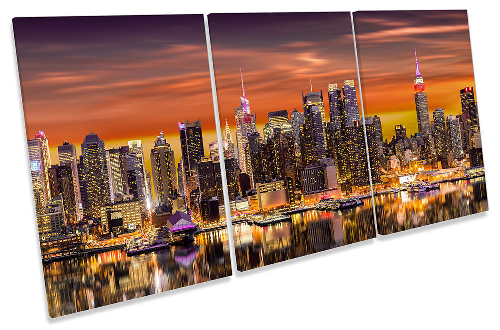 New York City Skyline Orange Framed CANVAS PRINT TREBLE Wall Art