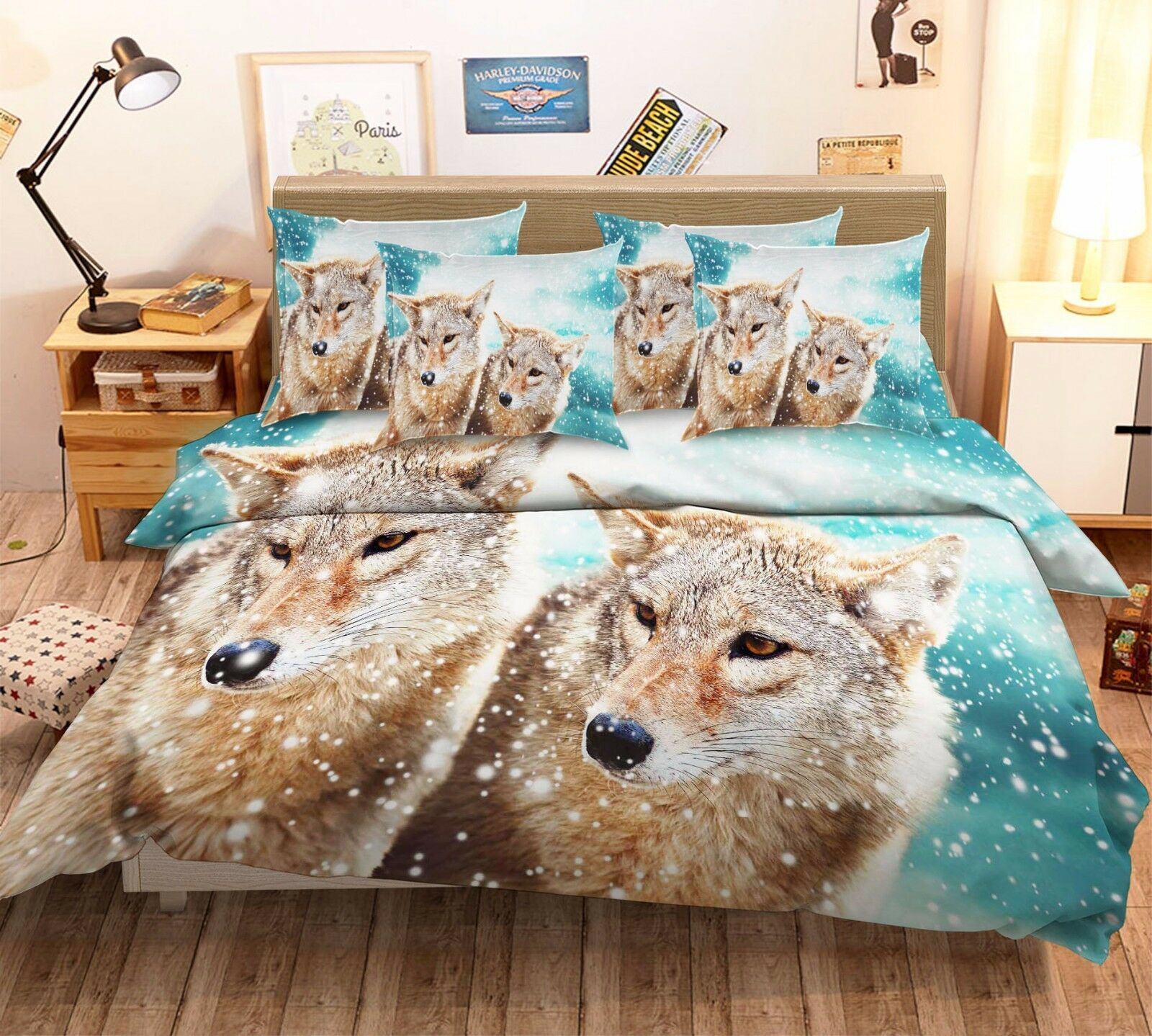 3D Snowing Animal 816 Bed Pillowcases Quilt Duvet Cover Set Single Queen UK Kyra