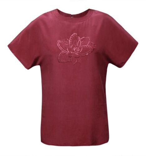 Damen Shirt Kurzarm 100/% Seide Dunkel Violet Stickmuster Bestick Blume 140124K