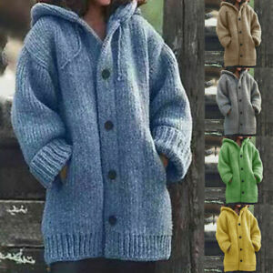Autumn-Winter-Women-Hooded-Knit-Cardigan-Sweater-Knitwear-Chunky-Jacket-Coat-New