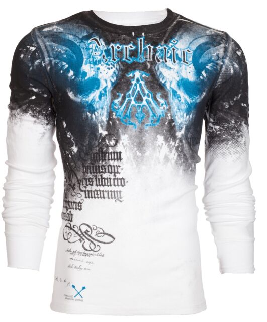 Archaic AFFLICTION Men THERMAL T-Shirt NIGHTWATCHER Skulls Biker UFC S-3XL $58 d
