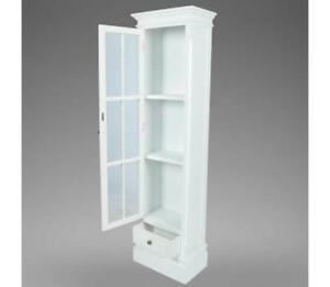 Image Is Loading TALL NARROW BOOKCASE Display Cabinet Shabby Chic Wood