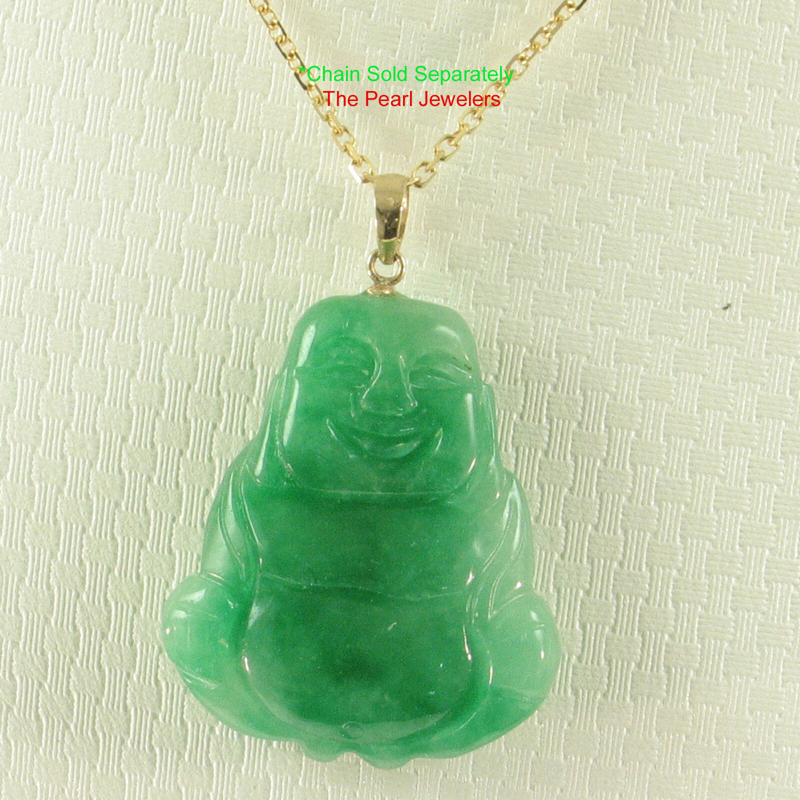 14k Yellow Solid gold Hand Carving 2 Sides Happy Buddha Green Jade Pendant TPJ