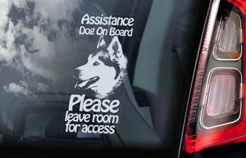 ASSISTANCE DOG Car Sticker Siberian Husky Dog Window Sign Decal Gift Pet V08
