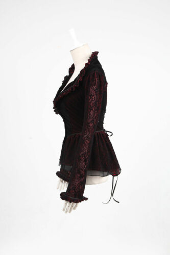 Lolita Victorian Rave Jacket Punk Gothic Lila Mantel Rot Steampunk Y497 Coat X8wW7FqT7