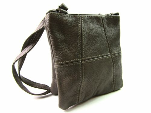 LADIES WOMENS SMALL LEATHER CROSSOVER BODY SHOULDER TWIN SECTION HANDBAG PURSE