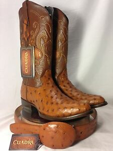 NEW mens CUADRA AUTHENTIC ostrich western COWBOY BOOTS W/MATCHING ...