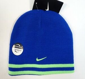 4f011d586cb Nike Swoosh Logo Reversible Blue   Lime Knit Beanie Youth Boys 8-20 ...