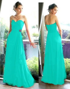 Aqua Blue Chiffon Evening Bridesmaids Dress