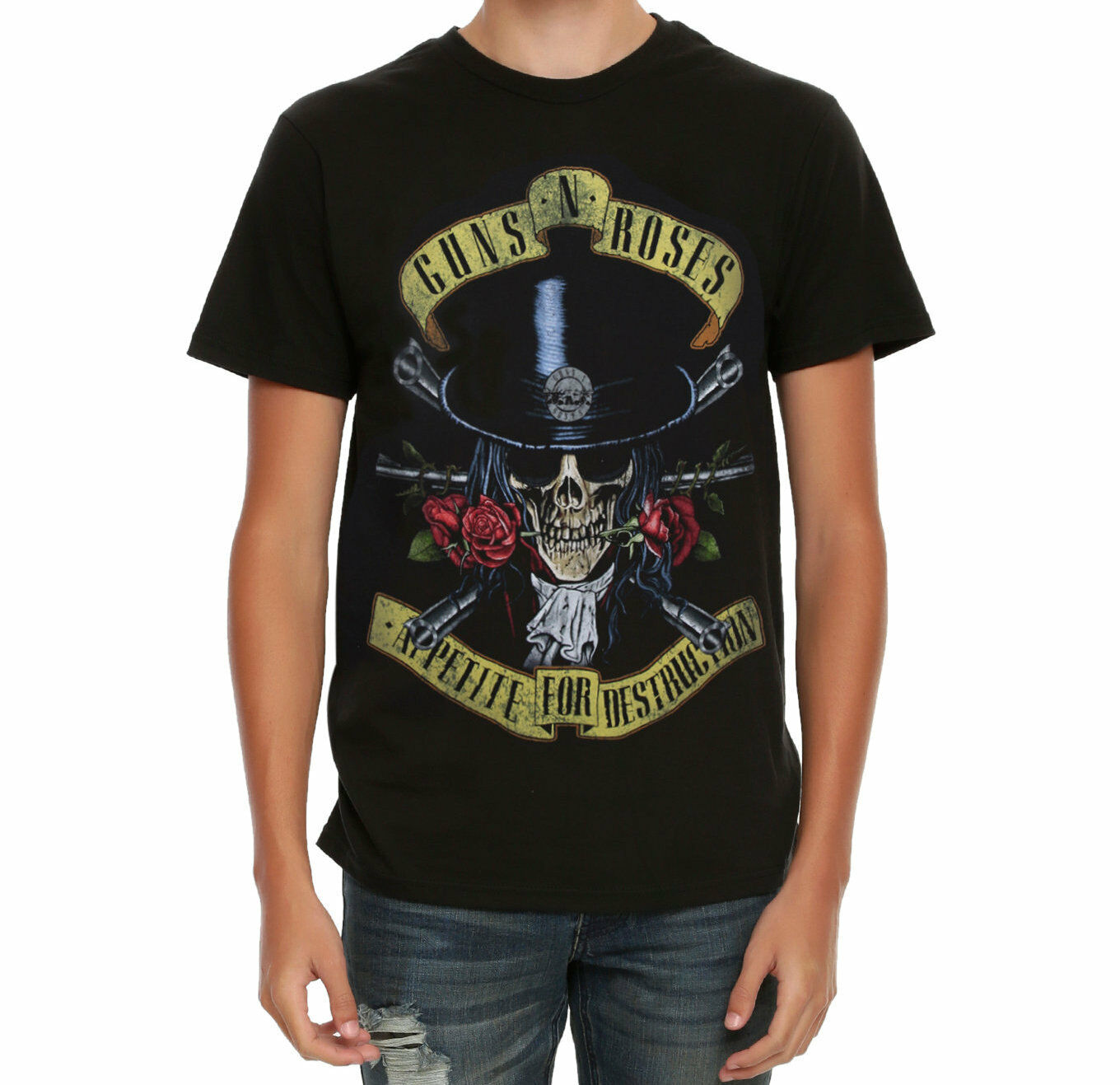 df3daca7e Guns N' Roses APPETITE FOR DESTRUCTION SKULL TOP HAT T Shirt NEW 100%  Authentic New Brand Clothing T Shirts 2018 Summer 100% Cotton Design And  Buy T ...