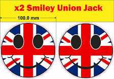 2x SMILEY union jack stickers bumper acid vw mini van bus decal car bike rave GB