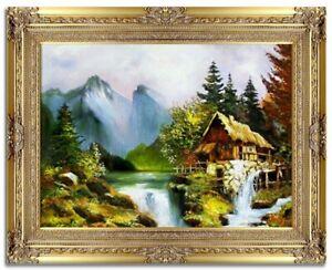 Landschaft-Barock-Gemaelde-Handarbeit-Olbild-Bild-Olbilder-Rahmen-Bilder-G06180
