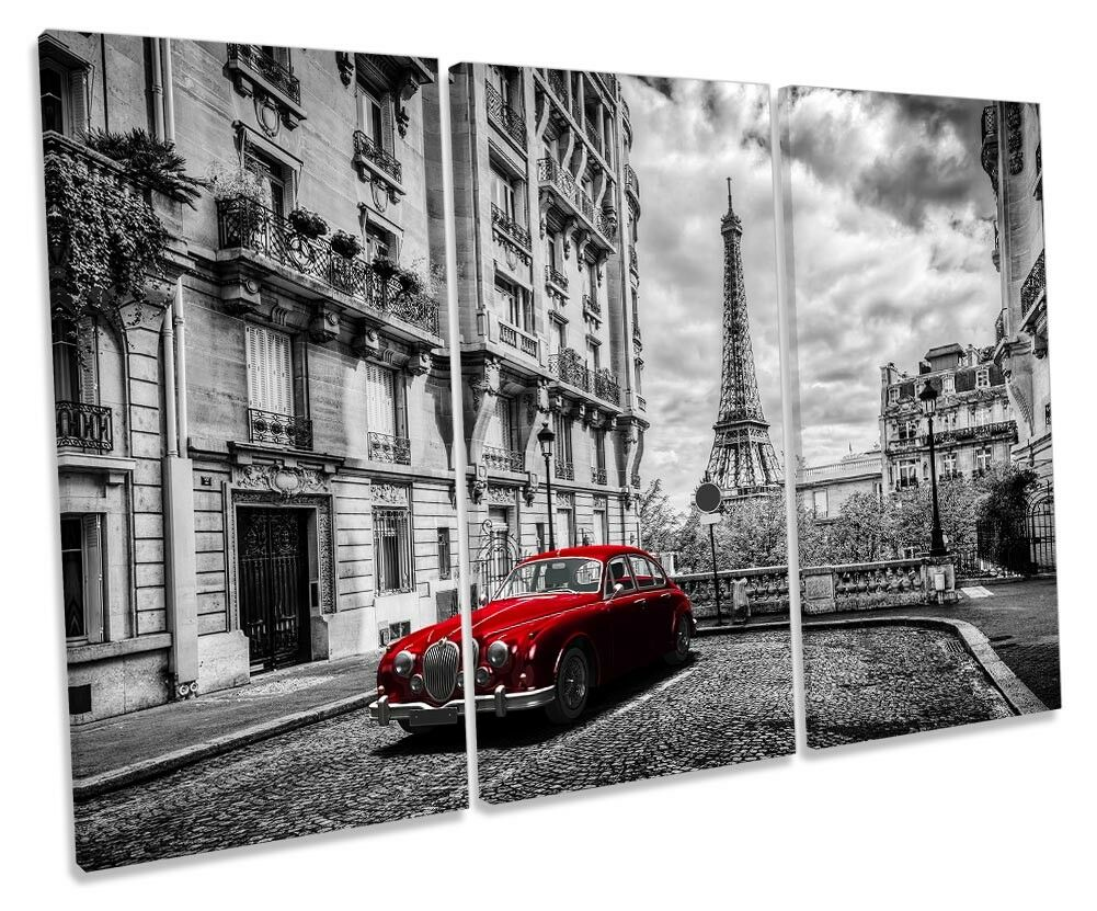 Eiffel Tower Vintage rot Car Picture TREBLE CANVAS WALL ART Print