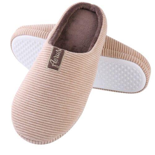 Men/'s Womens Anti-Slip Memory Foam Slip-on Winter Slippers Flat Indoor Shoes