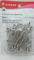 Singer 40 Quilting & Craft Safety Pins - Size 3 / 2 Alloy Plated Steel