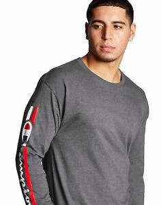 Champion-T-Shirt-Tee-Men-039-s-Classic-Jersey-Long-Sleeve-Vertical-Script-Logo-Soft