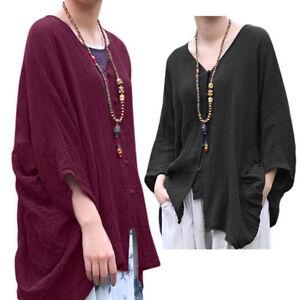 7b0f782d1130a New Women Cotton Linen Loose Long Sleeve Button Pleat Irregular ...