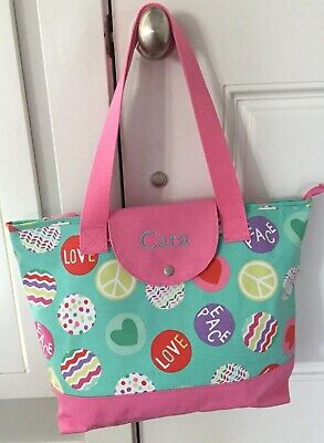 Pottery Barn Pb Teen Tote Bag Mint Pink Peace Cara New