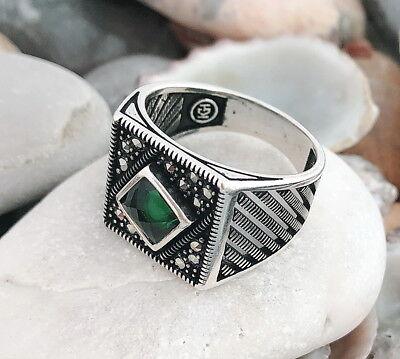 Handgemacht 925 Sterlingsilber Grün Zirkonia & Markasit Stein Herren Ring #c170 Sparen Sie 50-70% Uhren & Schmuck