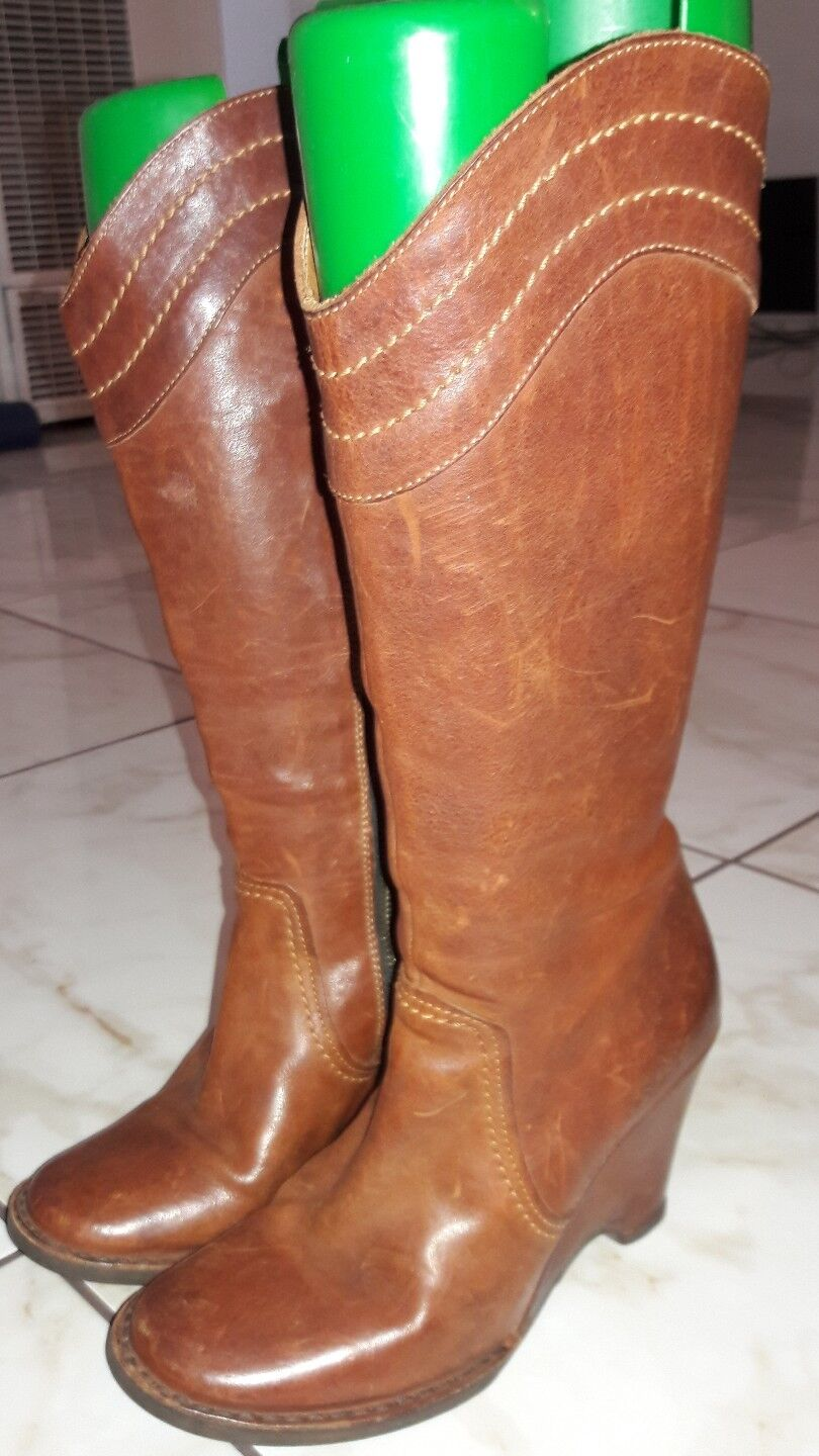 Fiorentini + Baker Cognac Brown Leather Rounded Toe Wedge Heel Tall Boots sz 6