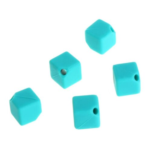 5Pcs Square Silicone Beads Pendant Shape Baby Teether Relief Pain DIY Necklace