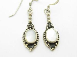 Image Is Loading Sterling Silver Vintage Lever Back Design White Opal