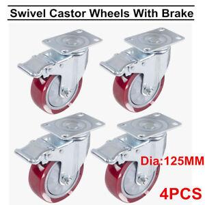 Furniture Hardware 4 X Casters 50mm Swivel Castor Wheels Trolley Furniture Caster Heavy Duty Firm In Structure Hardware