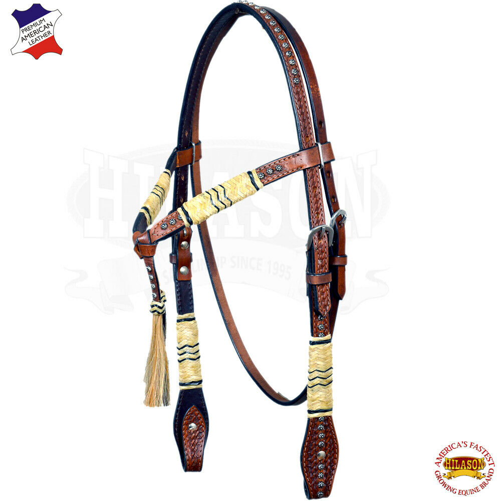 UBHS Hilason Western American Leather Horse Headstall Rawhide Braided Marronee