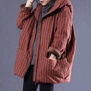 donna cotone righe con letterario a cappuccio in da invernale Capispalla HwqzFE