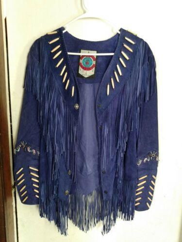 Vtg Diamond Leathers Blue Fringe Suede Boho native