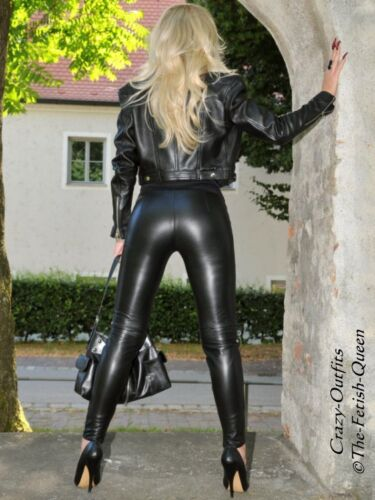 Lederhose Leder Hose Schwarz Zipper Knalleng Größe 32-58 XS XXXL