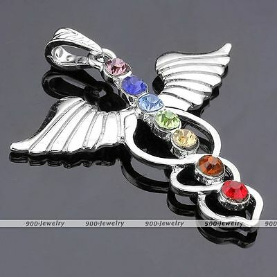1x Angel Wing Inlaid 7 Crystal Glass Healing Point Chakra Charm Pendant DIY Gift