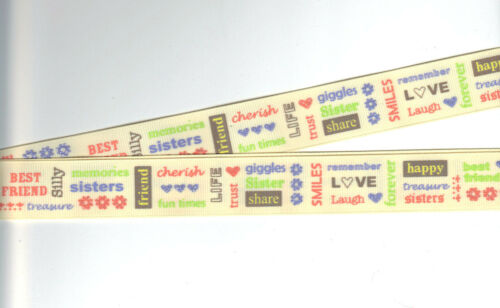 "SISTER WORDS scrapbooking ONE YARD Adornit 1/"" Printed Grosgrain Ribbon"