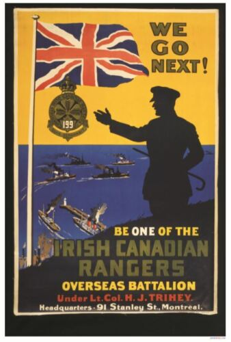 WWI Era  POSTER Be One of the Irish Canadian Rangers