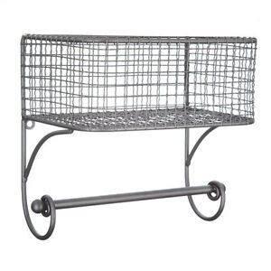 Black Iron Wire Wall Basket with Rod RUSTIC VINTAGE HOME DECOR   eBay
