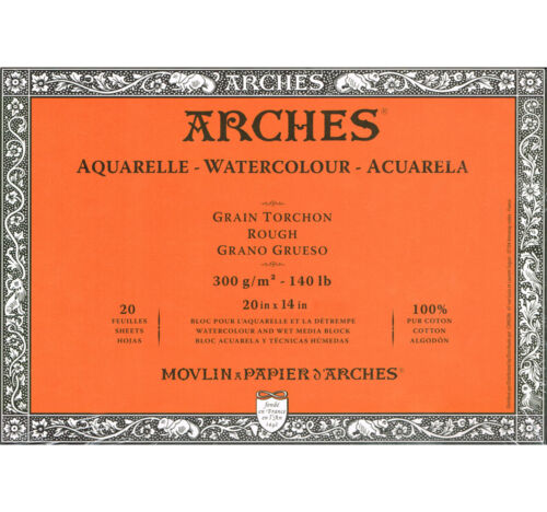 Arches Aquarelle Block 20x14in 20 Sheets Glued Rough
