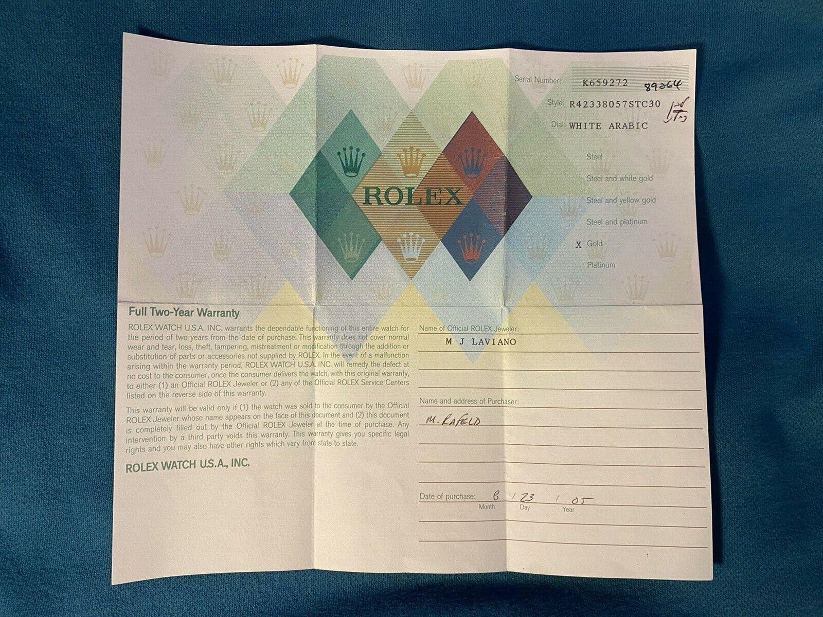 Zusammenfassung Einzelprodukt. Rolex Zertifikat Garantie für Ein K ...