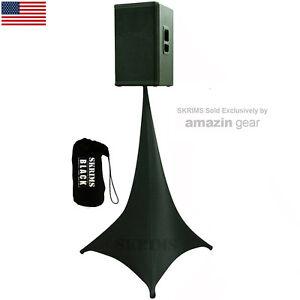SKRIMS-Black-Triple-Sided-DJ-Scrim-Tripod-Speaker-Stand-Stretch-Cover-FREE-Bag