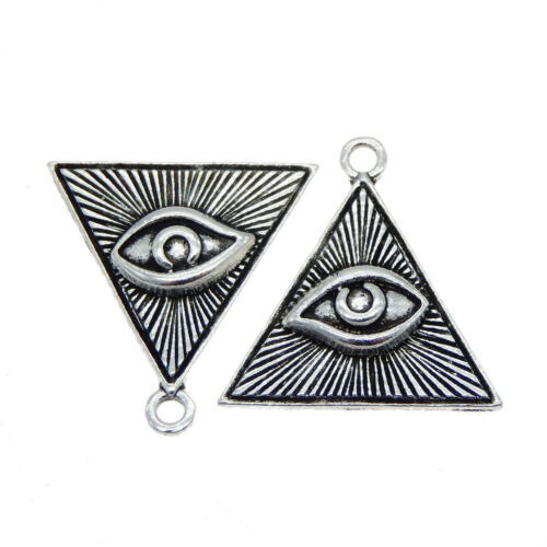 10 pcs Vintage Silver Color Eye Pattern Triangle Shaped Metal Pendant Charm DIY